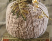 Handmade Knit Pumpkin (Brown Color) with whimsical stem and added Embellishments