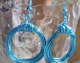 Blue Wire Hoop Earrings - Handmade Jewelry