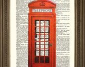 "RED TELEPHONE BOX Print: Traditional British Phone Booth, Vintage Dictionary Page Art Antique Wall Hanging Gift (8 x 10"")"