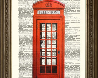 """RED TELEPHONE BOX Print: Traditional British Phone Booth, Vintage Dictionary Page Art Antique Wall Hanging Gift (8 x 10"""")"""