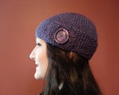 Purple Chunky Button Flap Hat