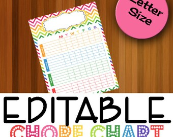 EDITABLE Behavior Chart, Weekly Chore Chart, Behavior Charts for Children, Teaching Good and Bad Behavior, Good Behavior, Instant Download