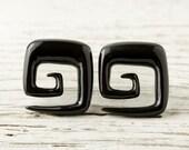"""Spiral Gauges Black Horn Earrings Square Shape   16g 14g 12g 10g 8g 6g 4g 2g 0g 00g 1/2""""  Expanders - GA009 H G2"""