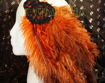 SALE! Burlesque Feather Hairclip- Burnt Orange and Brown with Black Beaded Applique