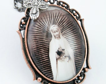 Virgin Mary Pendant Photography On Chain Necklace cross teal copper