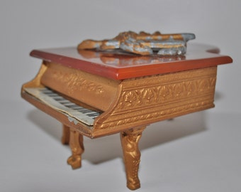Vintage Piano Cigarette Holder Ash Tray Cuendet Music Box Bakelite Art Deco