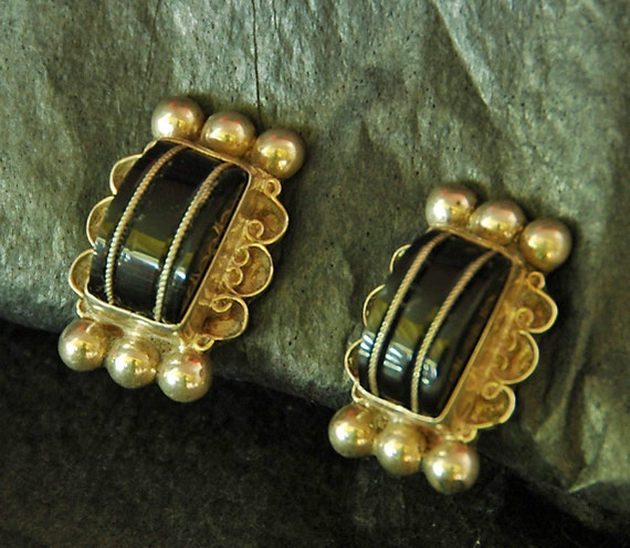 Vintage Black ONYX EARRINGS MEXICAN Sterling Silver, Screw Back Ca 1950s, Art Deco, Estate Purchase, Excellent Condition, Mrk'd on Back!