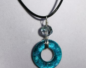 Blue and Purple Wire-Wrapped Alcohol Ink Washer Pendant, Washer Jewelry, Alcohol Ink Jewelry