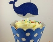 Navy and Silver Glitter Whale Cupcake Toppers