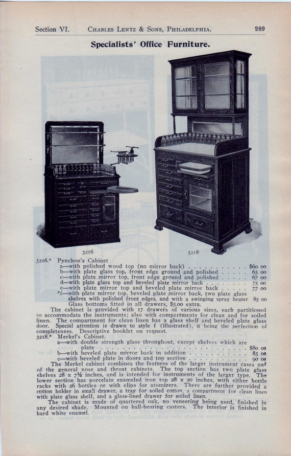 Antique medical equipment surgical catalog page office for Furniture y equipment