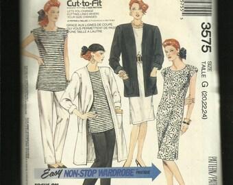 Vintage 1988 McCalls 3575 Easy Fitting Wardrobe Duster Jacket Top Pants & Dress Sizes 20..22..24 UNCUT