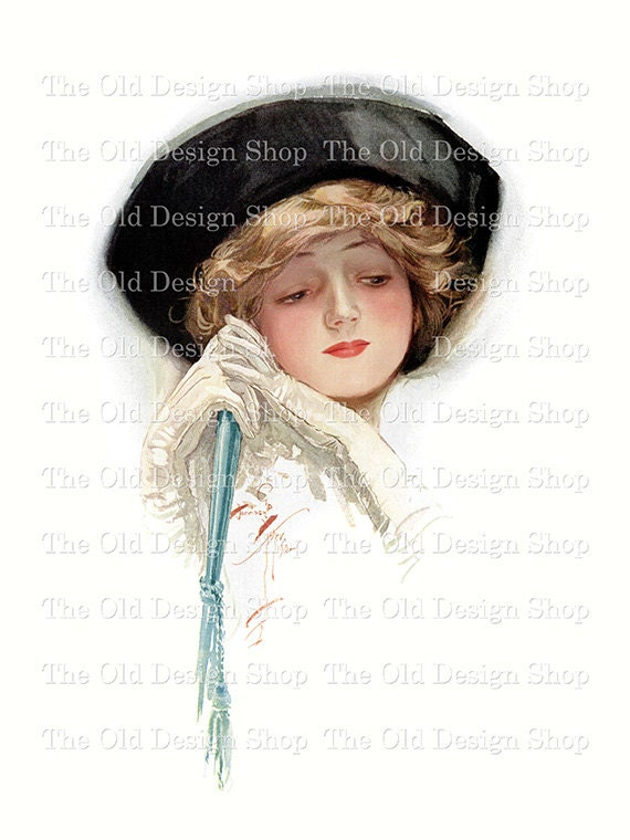 Harrison Fisher Printable Art Victorian Lady Black Hat White Gloves Digital Download JPG Image