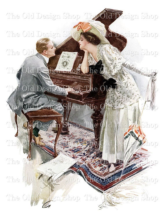 Harrison Fisher Art Man and Woman at Piano Vintage Image Digital Download Printable JPG