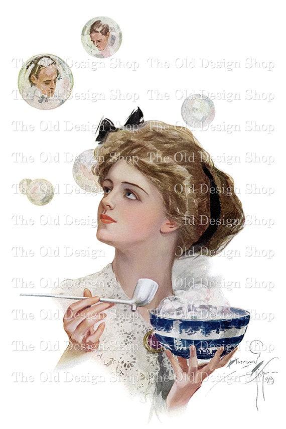 Harrison Fisher Lady Blowing Bubbles Men in Bubbles Vintage Printable Art Digital Download JPG Image