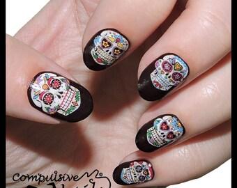 Sugar skull nail polish strips. Nail wraps. Awesome nail art nail decals.