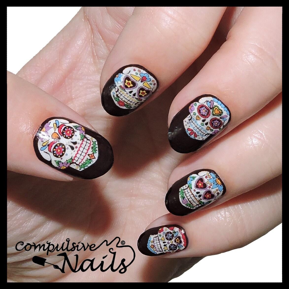 Skull Nail Art: Sugar Skull Nail Polish Strips. Nail Wraps. Awesome Nail Art