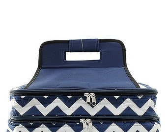 Personalized Casserole Carrier Double Insulated Chevron Print Navy Embroidered