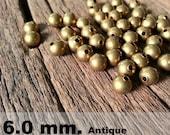 50 Pcs (6 mm)  Brass Beads - Round beads -Brass Spacer-