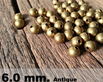 50 Pcs (6 mm)  Brass Beads - Round beads -Brass Spacer-