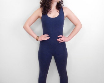 Navy Legging ROMPER Bodycon Stretch Jumpsuit 1980s Marika Blue