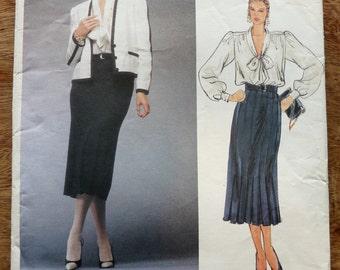 Vintage Vogue Adele Simpson American Designer Pattern, Jacket, Skirt and Blouse # 1483, Uncut