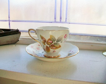 Delphine Teacup and Saucer Vintage 1940s Pink Flowers Bone China