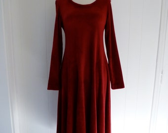 Betsey Johnson Rare 70's Label Jeanette by BJ Red Wine Velour Dress Draped Full Skirt M L
