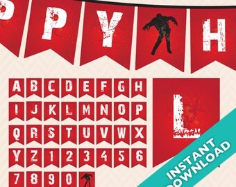 Red Zombie Printable Banner - Infectious zombie party - DIY
