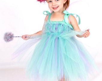 3 PIECE SET - Ready to Ship: Tutu Dress - Halloween or Birthday Fairy Costume - Blue & Purple - Abracadabra Darling - 12m to 2 Toddler Girl