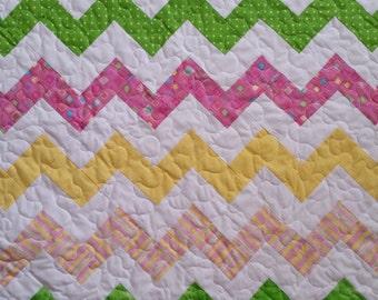 Baby girl quilt, Chevron quilt, Chevron Baby quilt
