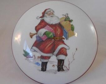 Vintage West German Reutter Porzellan Santa Trinket Box
