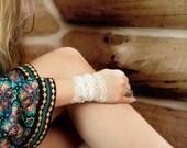White Lace Bracelet, Boho Wrist Cuff Bracelet Accessory, Arm Band, Wedding Bracelet Lace, Wristband Tattoo Coverup, Steam Punk Covers Womens