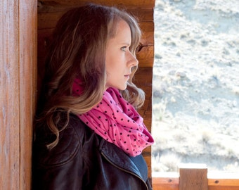 Pink Scarf, Polka Dot Infinity Scarf, Circle Scarf Retro Scarf Womens Scarf Girlfriend Gift for Her, Wife Gift Sister Gift Forgotten Cotton
