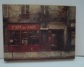 Art, French Art, Canvasand Tweed Burlap Art, French Wall Art, French Home Decor, Cafe de Amis, French Art, 90s Circa Art, Vintage Art