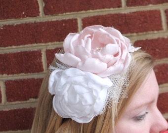 Blush and white peony mini veil headband.