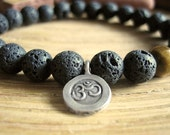 Mens Om Bracelet - Lava Stone Bracelet with Tigers Eye Bead and Fine Silver Om Charm, Mens Gift for Confidence, Protection and Success