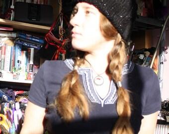 Black silver glitter rib knitted hat
