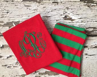 Monogrammed Christmas Pajamas - Personalized Christmas PJs - Elegant Monogram for a Child