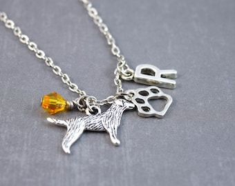 Personalized Dog Necklace - Golden Retriever Necklace - Pet Loss Jewelry - Dog Jewelry - Pet Necklace - Animal Necklace - Dog Pendant