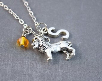Silver Lion Necklace - Personalized Necklace - Lion Jewelry - Safari Necklace - Animal Necklace - Lion Pendant - Zoo Necklace - Gift
