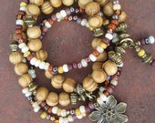 Stacking Stretch Wood and Glass Beaded Boho Gypsy Bracelet Set with Antique Gold Tone Flower Charm