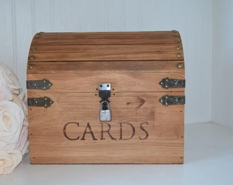 Wedding Card Box, Keepsake Card Box (Medium) with CARD SLOT and LOCK