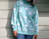 Vintage Baby Blue Polka Dot Sweater
