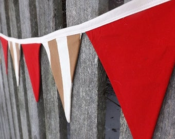 Baby bunting banner cowboy pirate neutral nursery decor red tan white nursery baby show baby gift photo prop