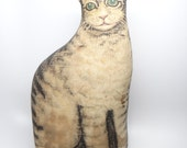 1920's Cat Door Stop, Stuffed Cotton Cat Printed on Cotton Fabric