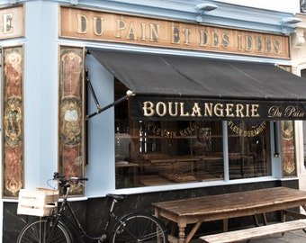 Paris Bakery Fine Art Photograph, Bicycle at the Boulangerie, Large Wall Art, French Kitchen Decor, Travel Photograph