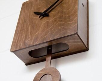 Quercus - Modern Cuckoo Clock  in Walnut finish