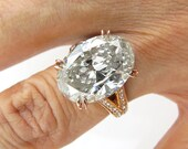 Reserved....Huge AGS Certified Estate Vintage 7.61ct Classic OVAL Cut Diamond Engagement Ring in 18K Rose Gold