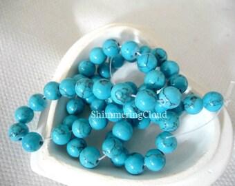 Turquoise beads, round, ball, blue, 6 mm, gemstone, supplies, genuine, earrings findings, earrings,