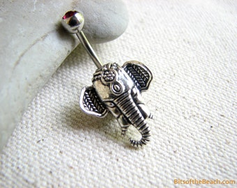 Elephant Belly Button Jewelry, Non Dangle Belly Button Ring, Tribal BellyBar Navel Piercing, Elephant Belly Ring Bellybutton Ring